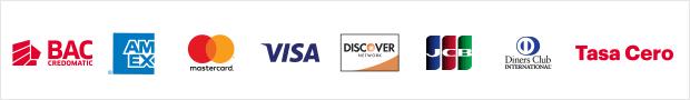 Metodos de Pago, BAC, American Express, Mastercard, Visa, Discover, JCB, Diners Club, Tasa Cero
